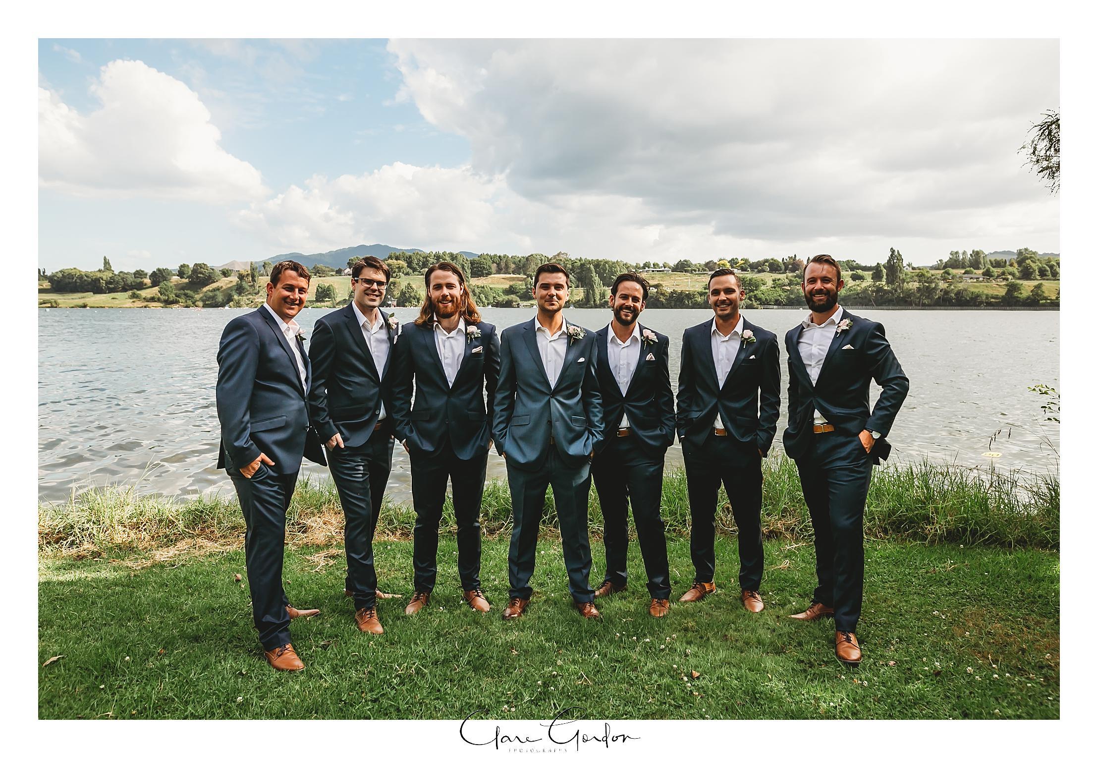 Groomsmen-photo-lake-karapiro