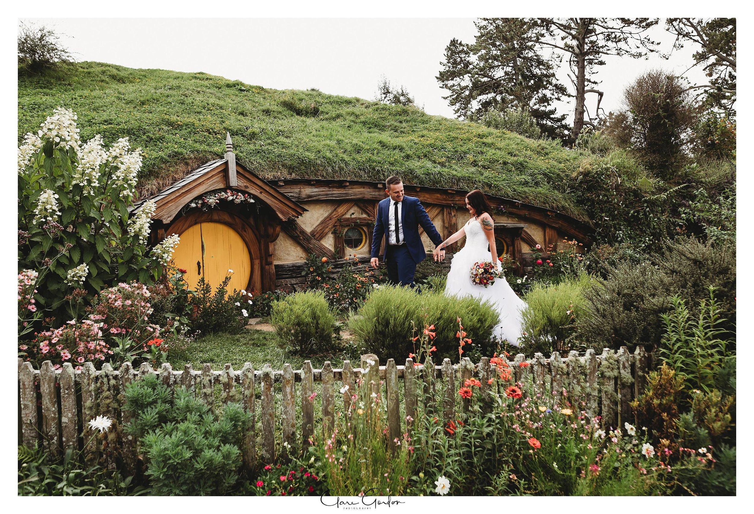 Hobbiton-wedding-bride-and-groom-in-garden