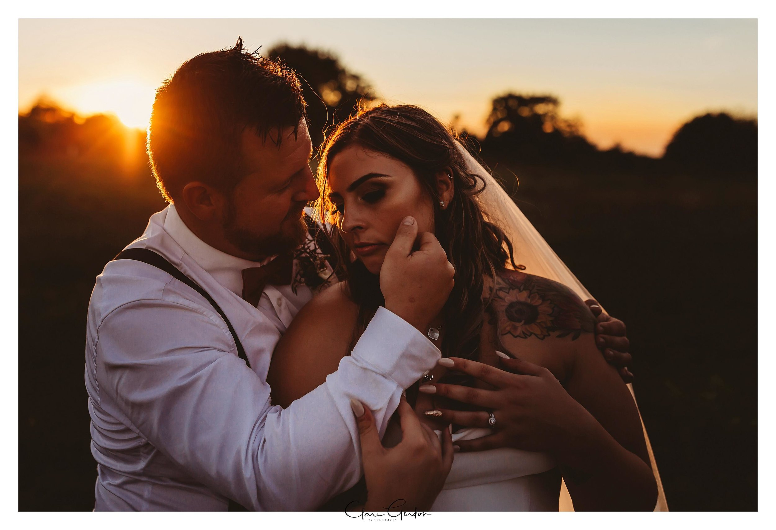 Bride-and-groom-at-sunset-Coopers-function-rooms-Ohaupo