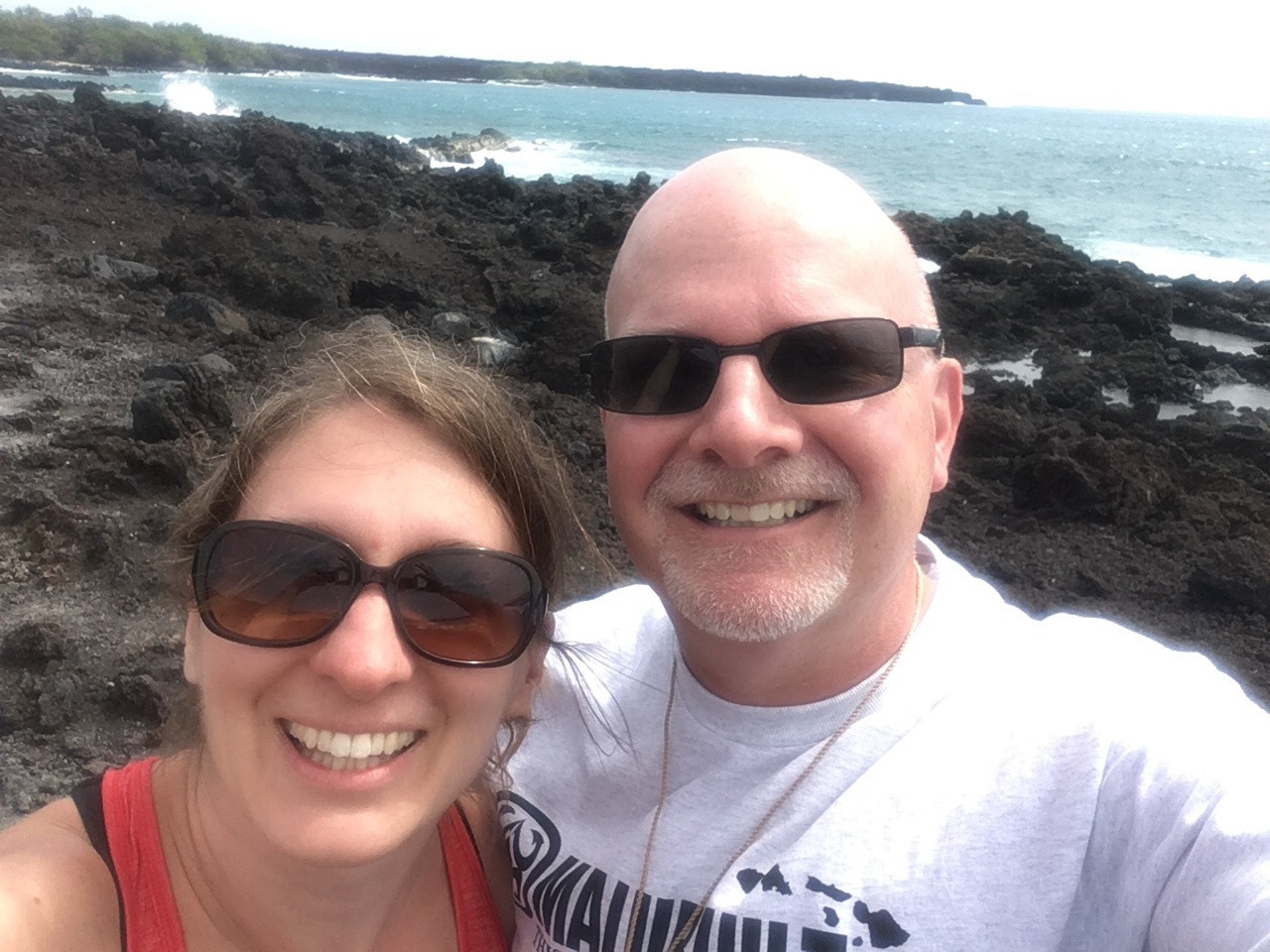 Jim and Heather at the lava fields in Maui, Hawaii