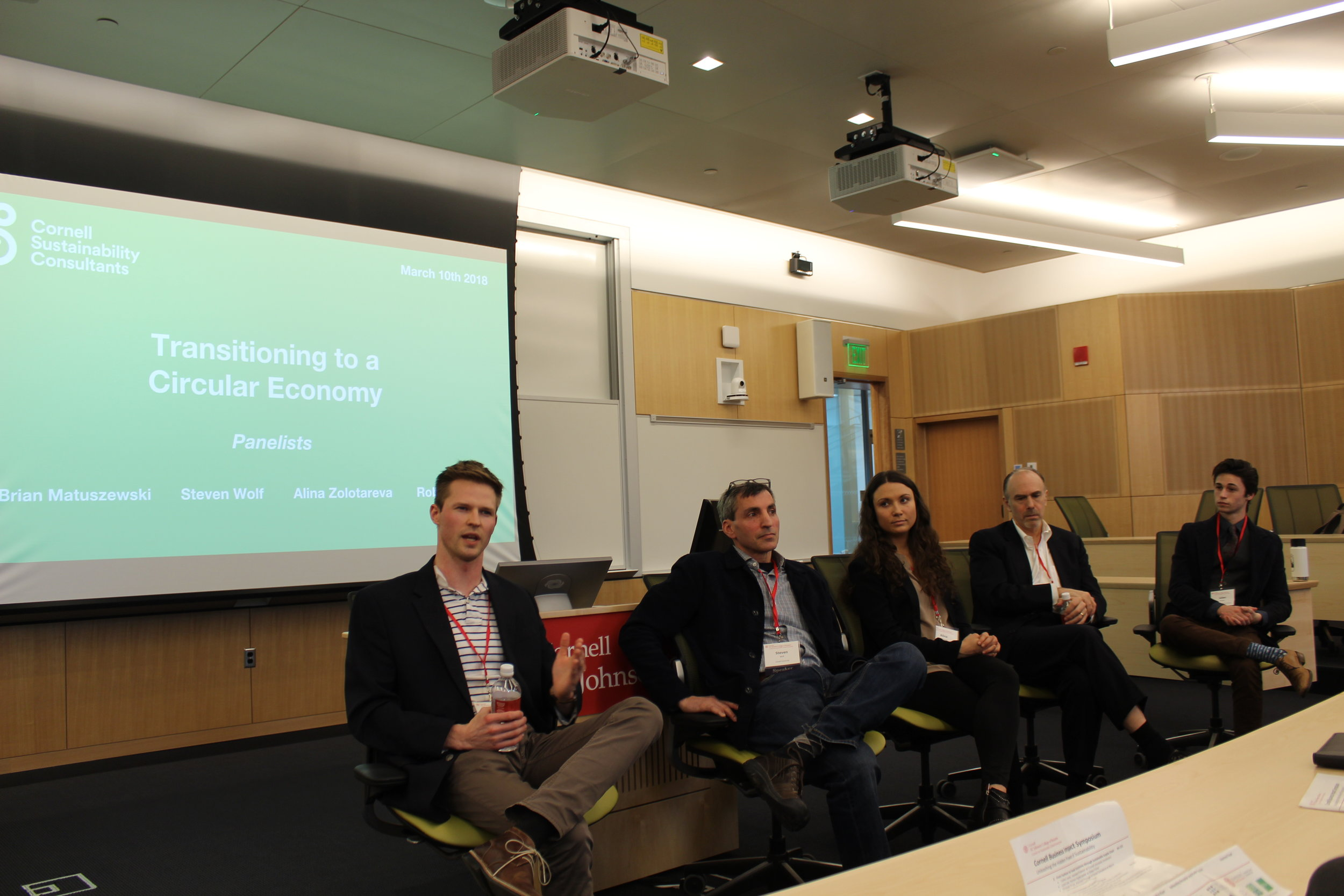 Cornell business Impact Symposium - At CBIS 2018, the team invited Rob Watson, Steven Wolf, Brian Matuszewski, and Alina Zolotareva to speak about the key barriers, the role of government, and various business models in the transition to a circular economy.At CBIS 2019, the team invited Ben Conard, Janet Helms, Matthew Himmel, Jennifer Ifft, and Erol Odabasi to speak about certifications such as Fair Trade and sustainability and ethics in the food industry.