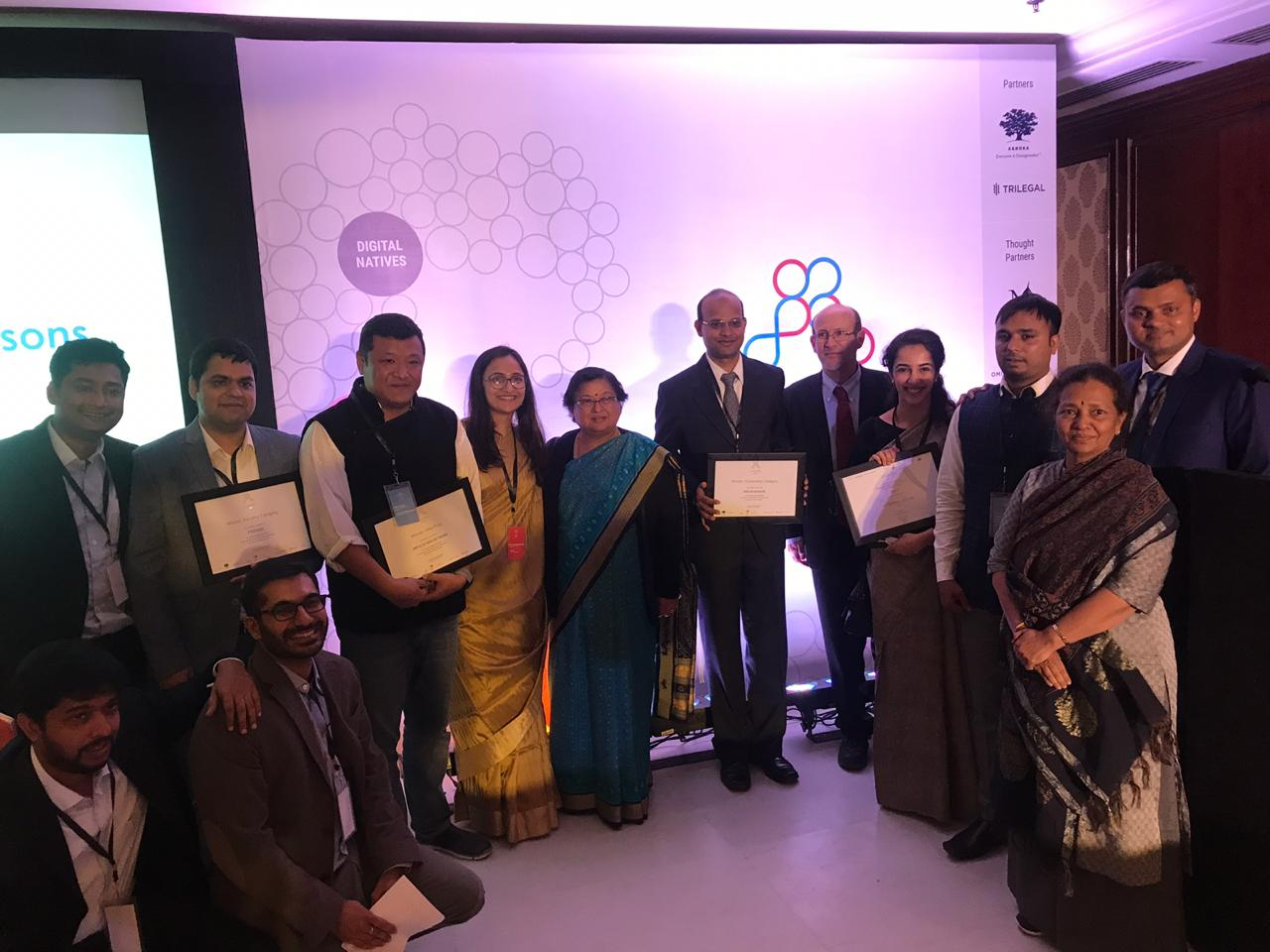 The winners of the Agami Prize, State Innovation Showcase presentees, keynote speaker Carl Malamud, Organizers and the Hon'ble Chief Justice Gita Mittal.