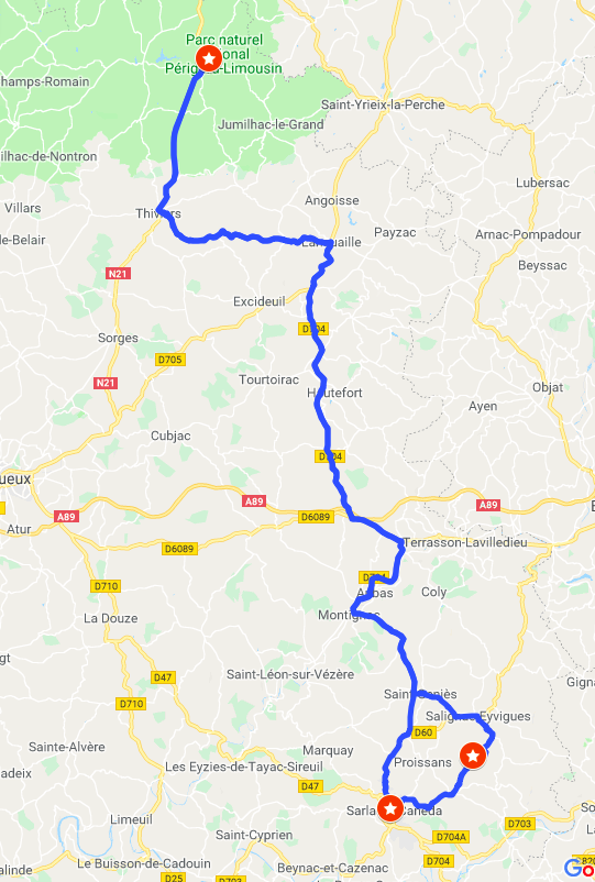 Itinerary #1 - Sarlat and EyrinacSarlat and Jardins de Manoir Eyrignac