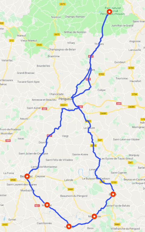 Itinerary #6 - The wine capital and bastide townsBergerac, Monpazier and Belvès (with optional stops at Issigeac and Villereal)