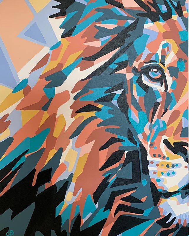 "Latest lion painting - diversifying my palette here! 16x20"" acrylic on canvas, DM me if interested. Adding to site soon."