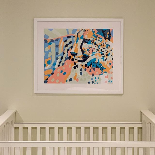 Latest install! Subdued vibrancy. #crib #nurseryroom #cheetah