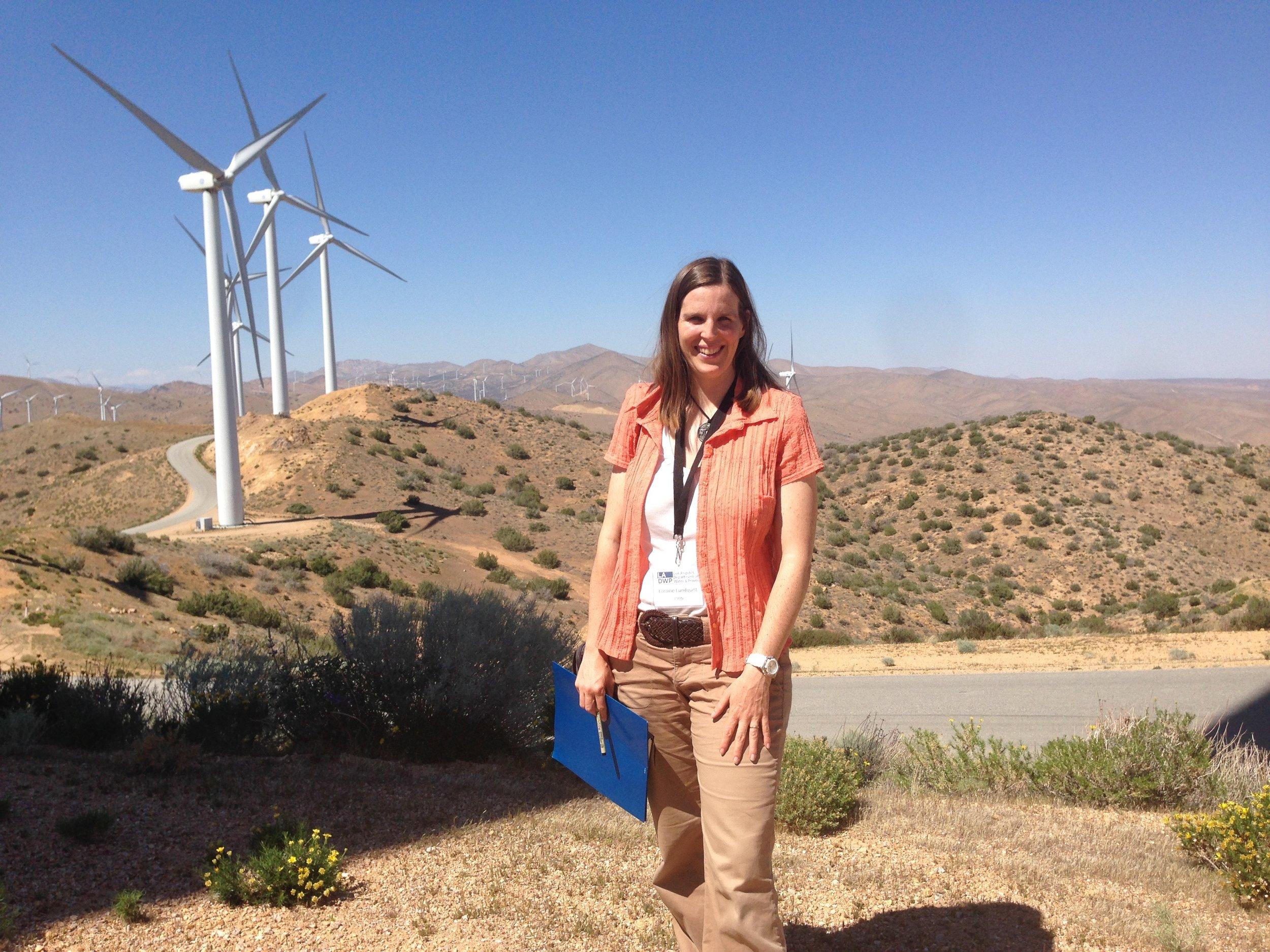 Loraine touring an LADWP wind farm