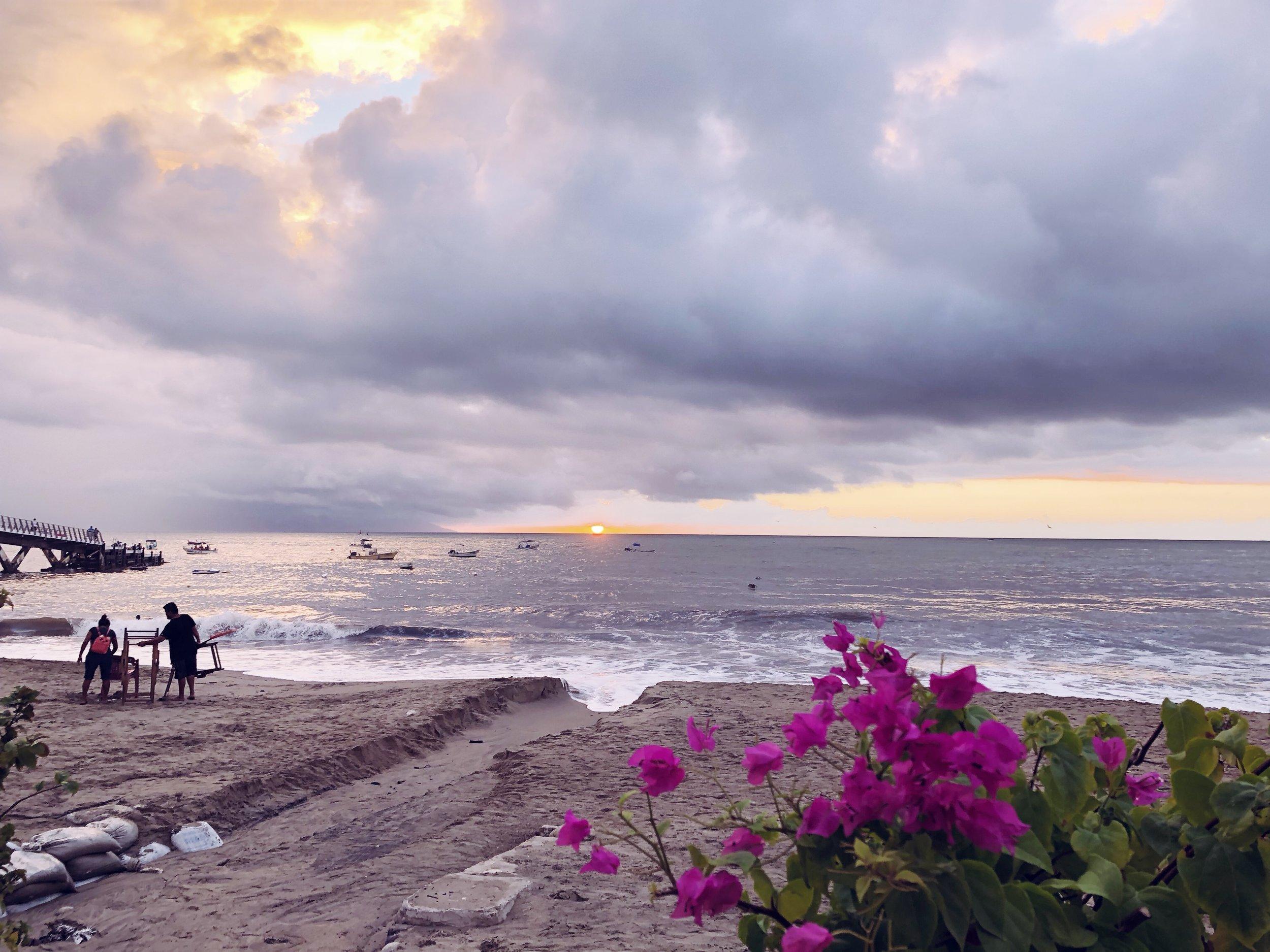 Sunset at Los Muertos Beach.