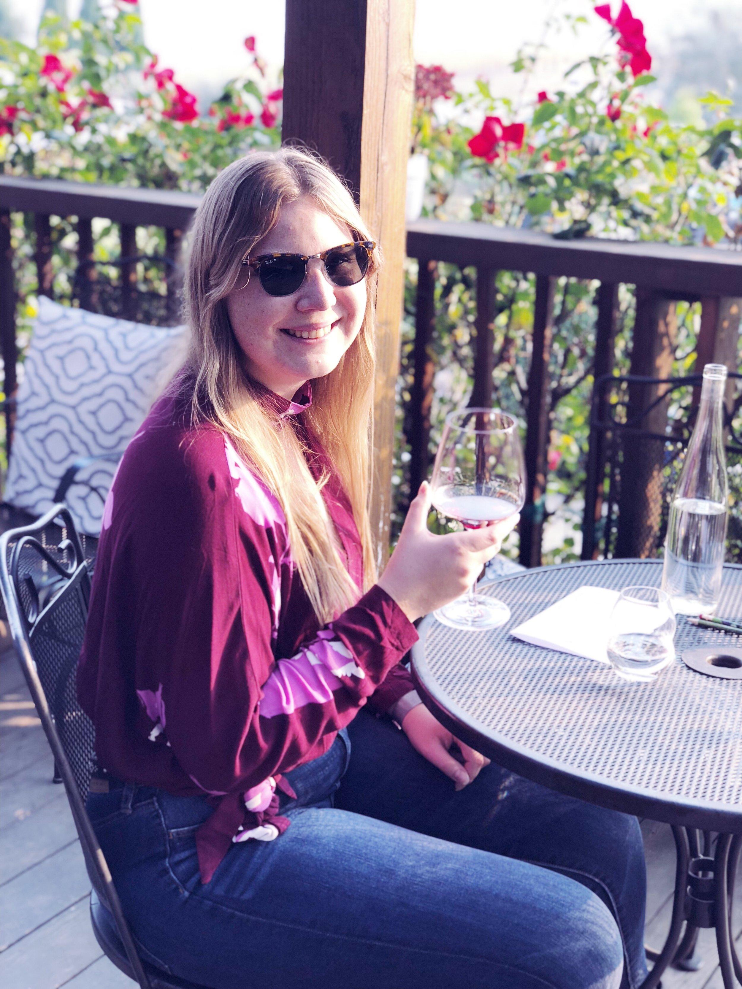fall boho outfit wine tasting napa