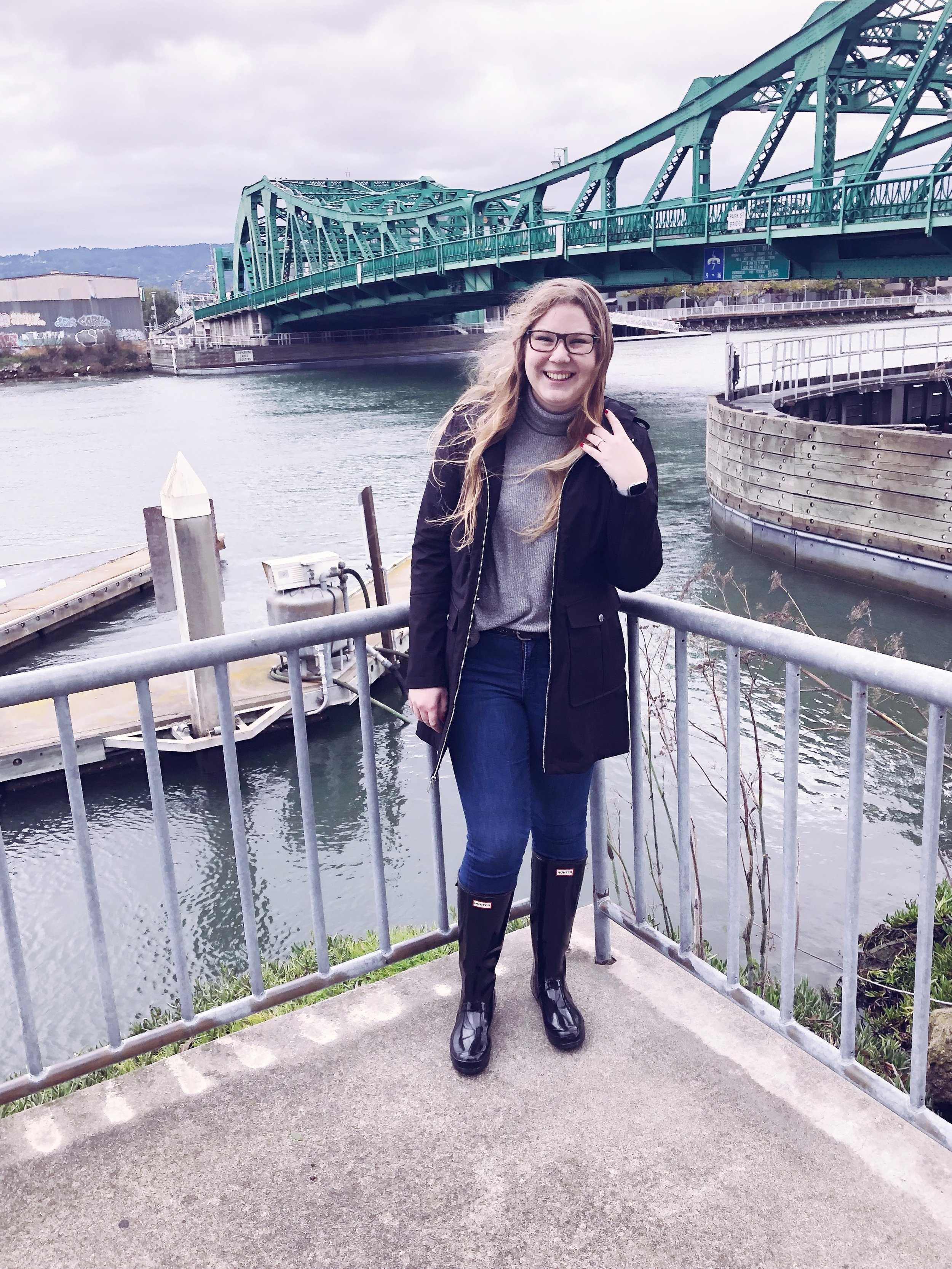 "Aerie top.   BCBGeneration jacket.   Old Navy jeans.   Hunter boots.   Click  here  to listen to ""Around The Bend"" by The Asteroids Galaxy Tour."