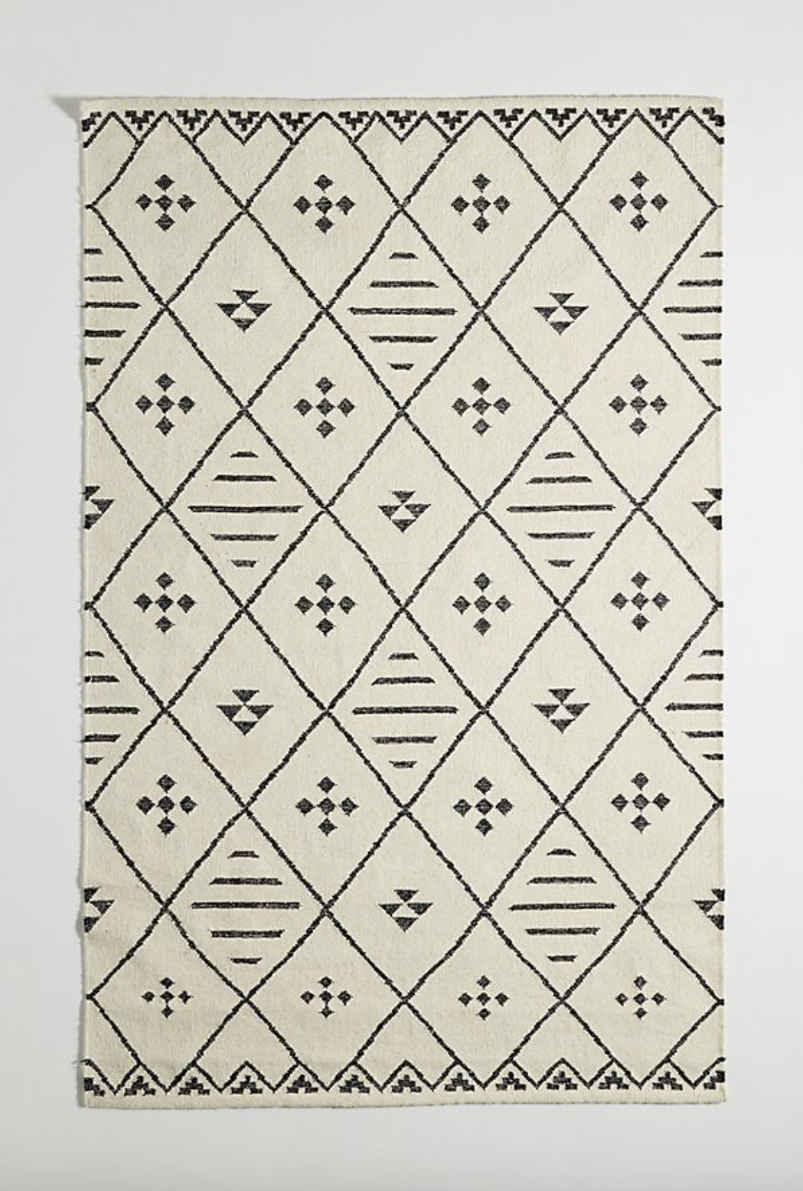 Photo courtesy of Anthropologie   Anthropologie Black and White Flatwoven Maylan Rug - $78