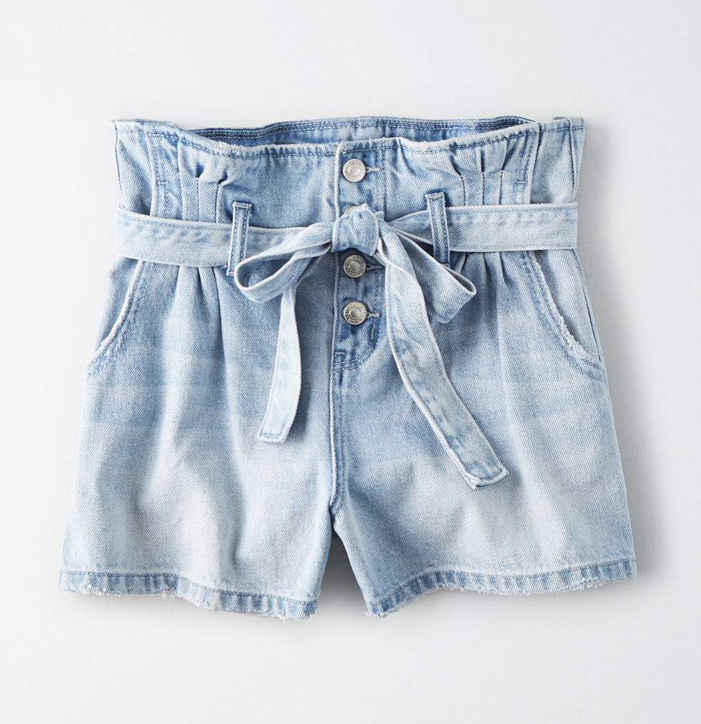 Photo courtesy of American Eagle Outfitters   American Eagle Light Wash Paperbag Denim Short - $54.95