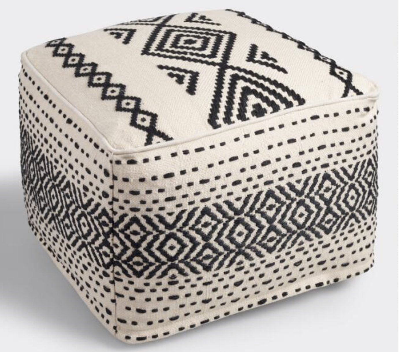 Photo courtesy of World Market   World Market Black and White Indoor Outdoor Pouf - $119.99