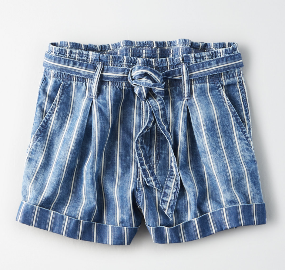 Photo courtesy of American Eagle   American Eagle Super High-Waisted Striped Paperbag Short - $49.95