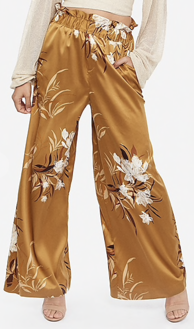 Photo courtesy of Express   Rocky Barnes High Waisted Satin Floral Wide Leg Pant - $79.90