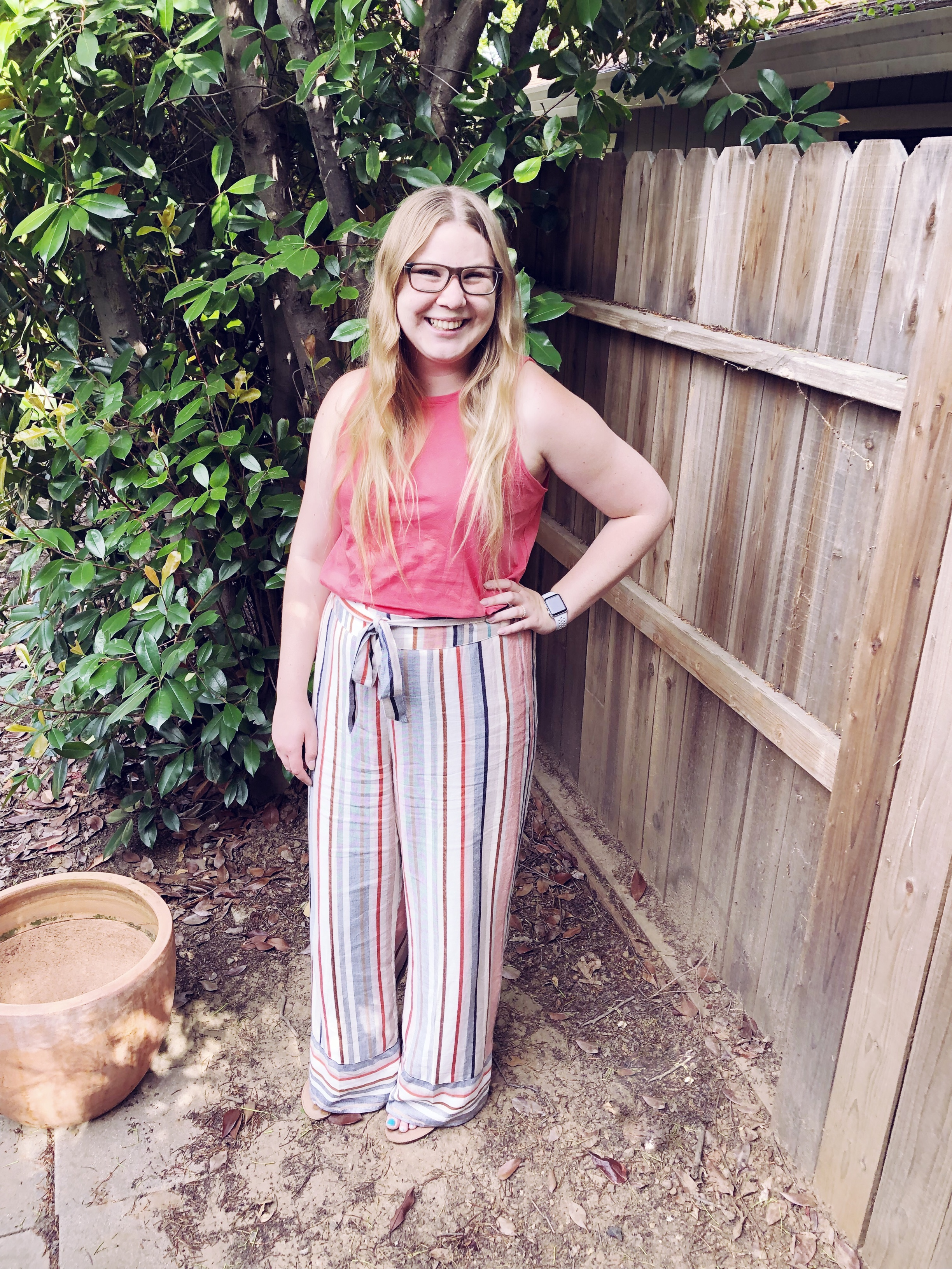 Express Wide Leg Pants.   Loving these summery striped pants from Express! Use my code 8482 at checkout to receive 15% off your purchase at Express. *exclusions apply.  #expresspartner   *Sponsored post*