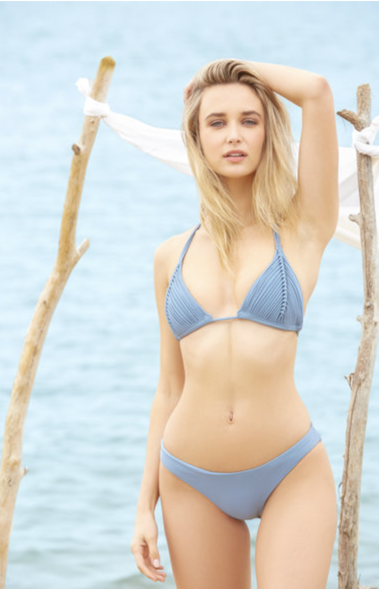 Photo courtesy of South Moon Under.   PilyQ Isla Blue Strappy Triangle Bikini Top - $78 .  Bottom - $66.