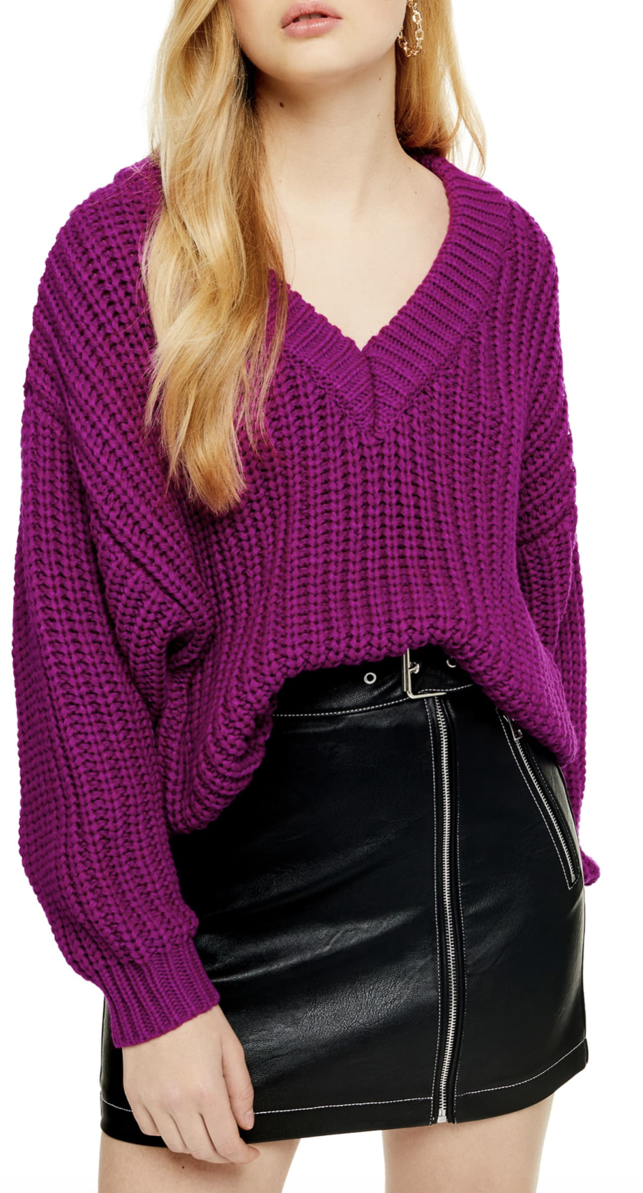 Topshop Oversize V-Neck Sweater - $44.90