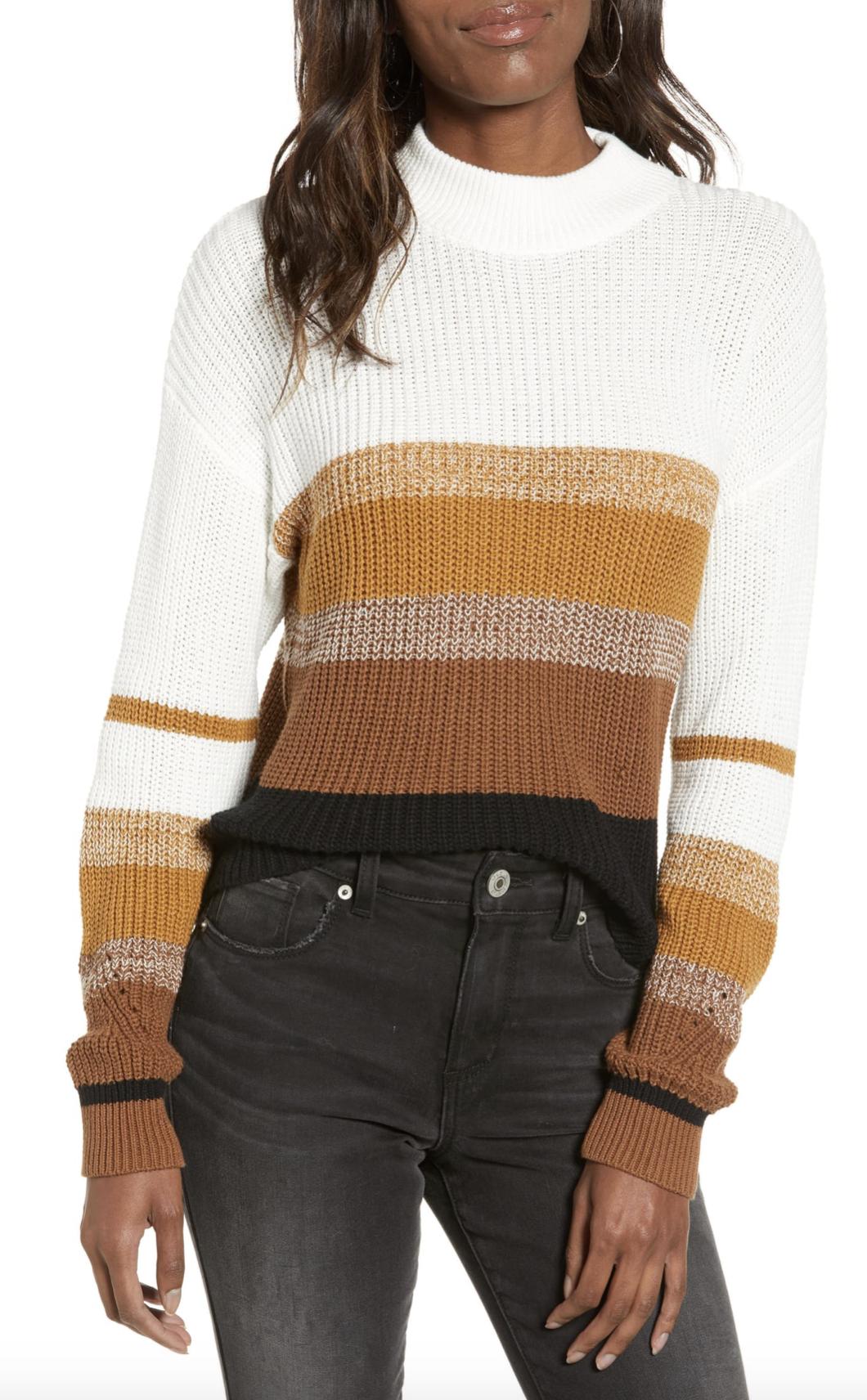 BP. Stripe Mock Neck Sweater - $31.90