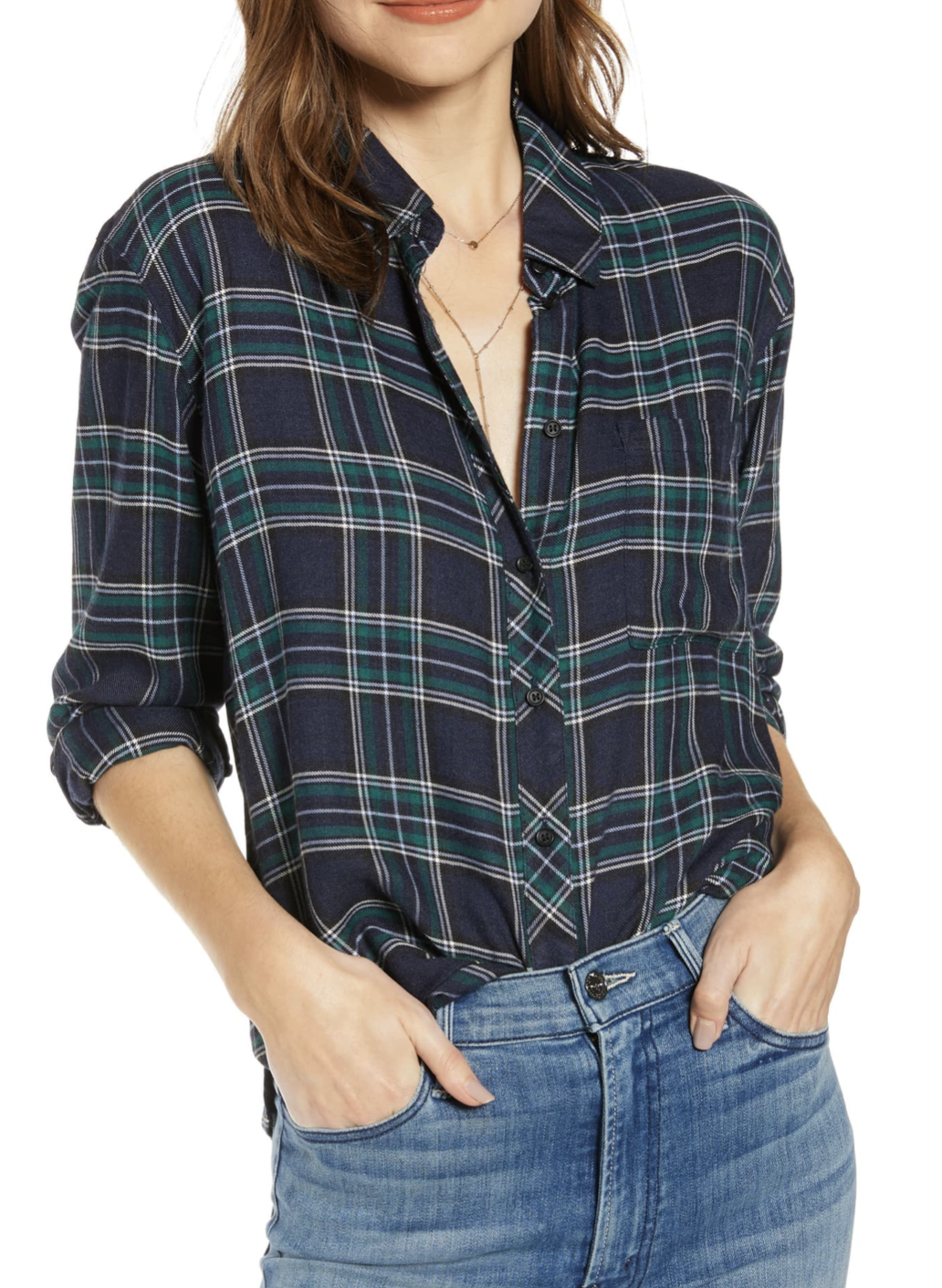 Treasure & Bond Plaid Boyfriend Shirt - $45.90