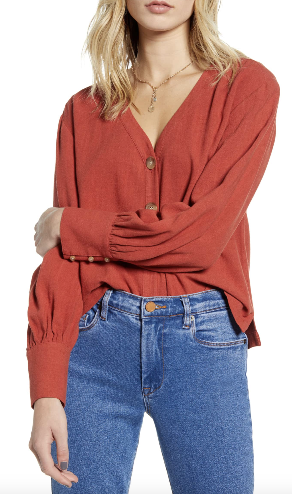 BP. Bishop Long Sleeve Blouse - $35.90
