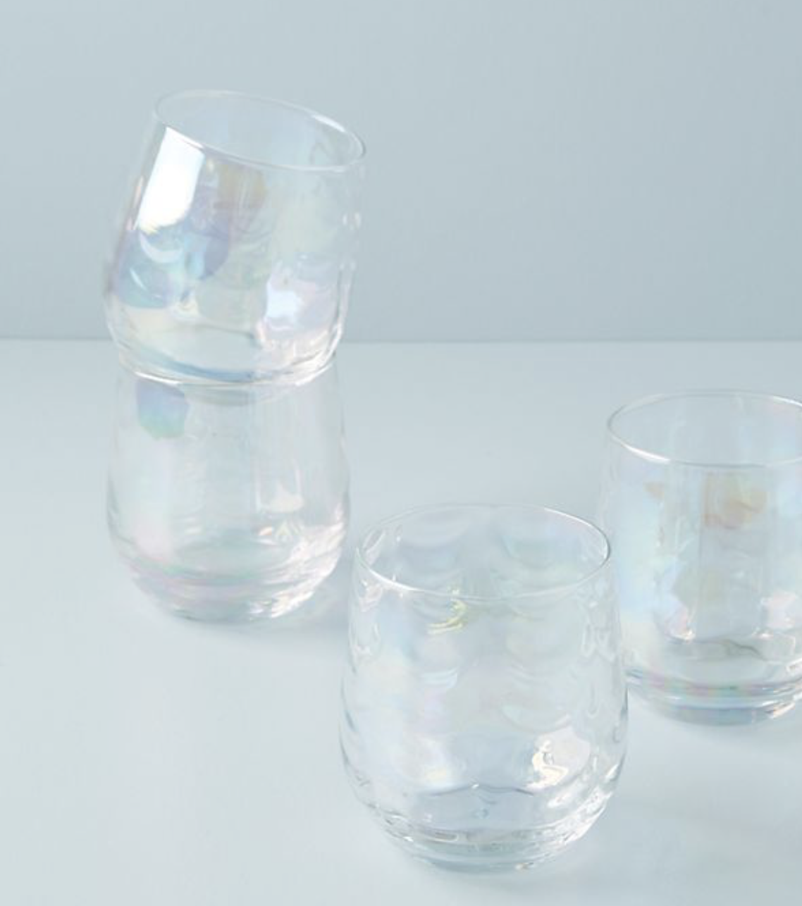 Photo courtesy of Anthropologie.   Anthropologie Lustered Stemless Wine Glasses - $32 for set of four