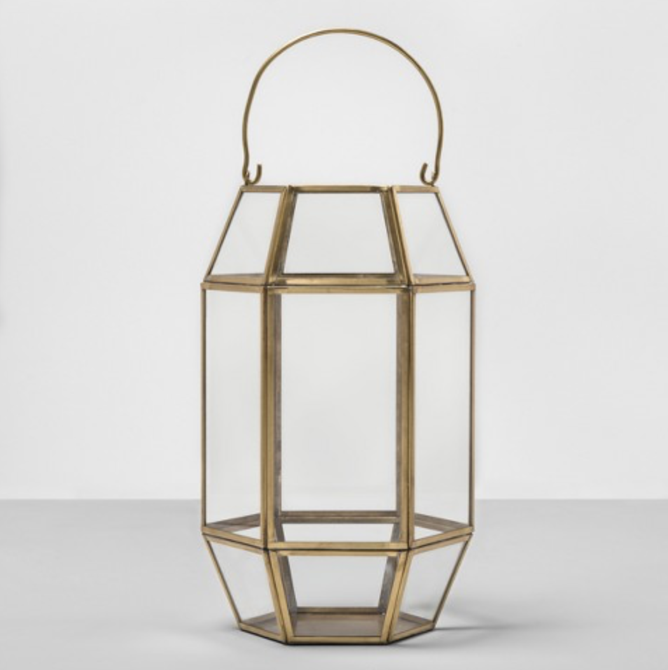 Photo courtesy of Target.   Target Opalhouse Hexagon Outdoor Gold Lantern - $34.99