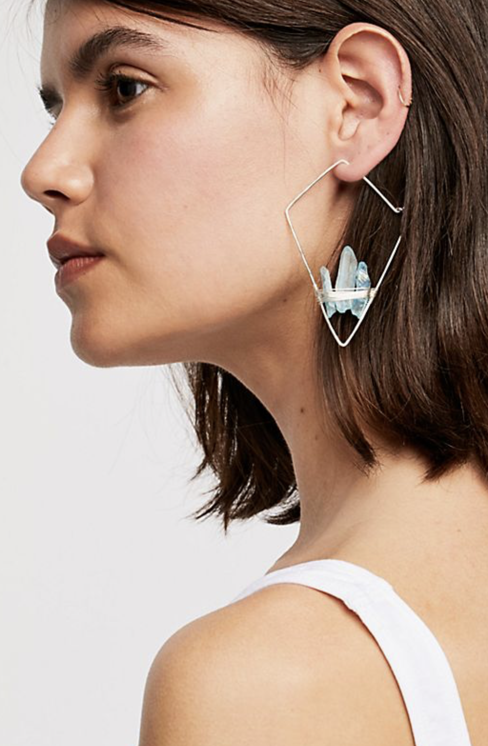 Photo courtesy of Free People.   Free People Mint Geode Threader Earrings - $68