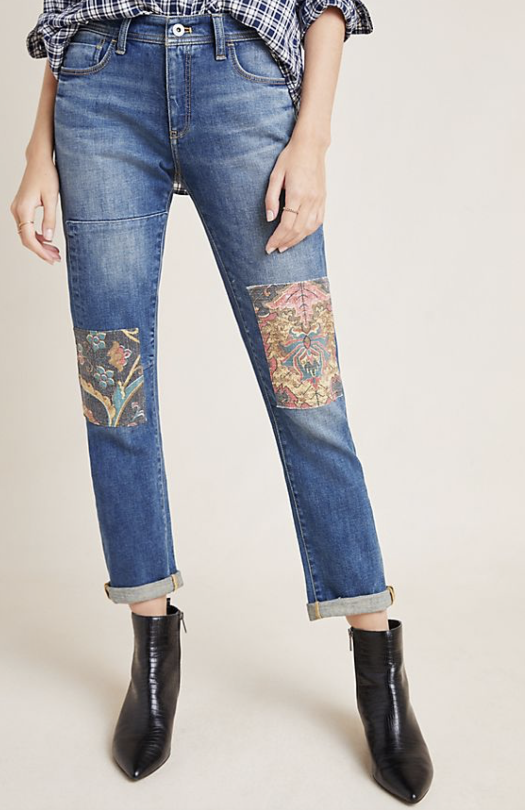 Photo courtesy of Anthropologie.   Anthropologie Pilcro Tapestry Mid-Rise Boyfriend Jeans - $160