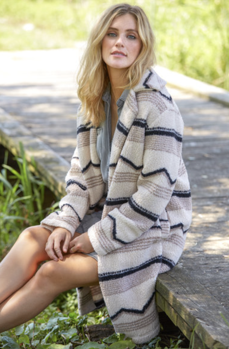 Photo courtesy of South Moon Under.   Billabong Striped Teddy Coat - $89.95