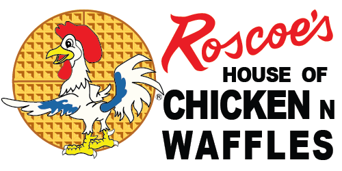 Roscoe's vintage road sign, reads House of Chicken and Waffles with Chicken standing by waffle