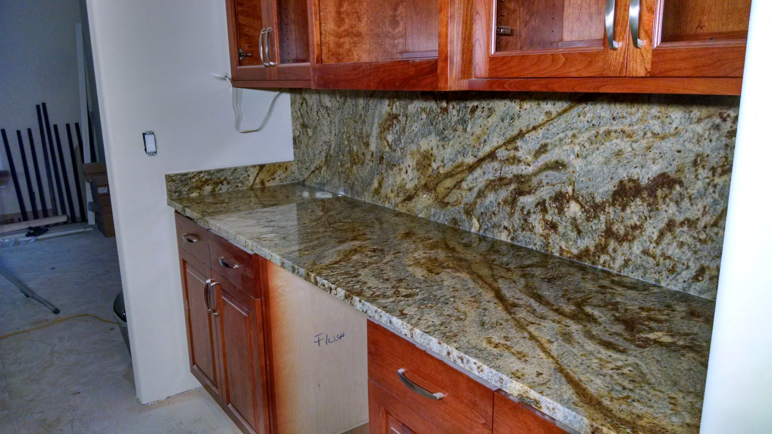 Counter with full height backsplash