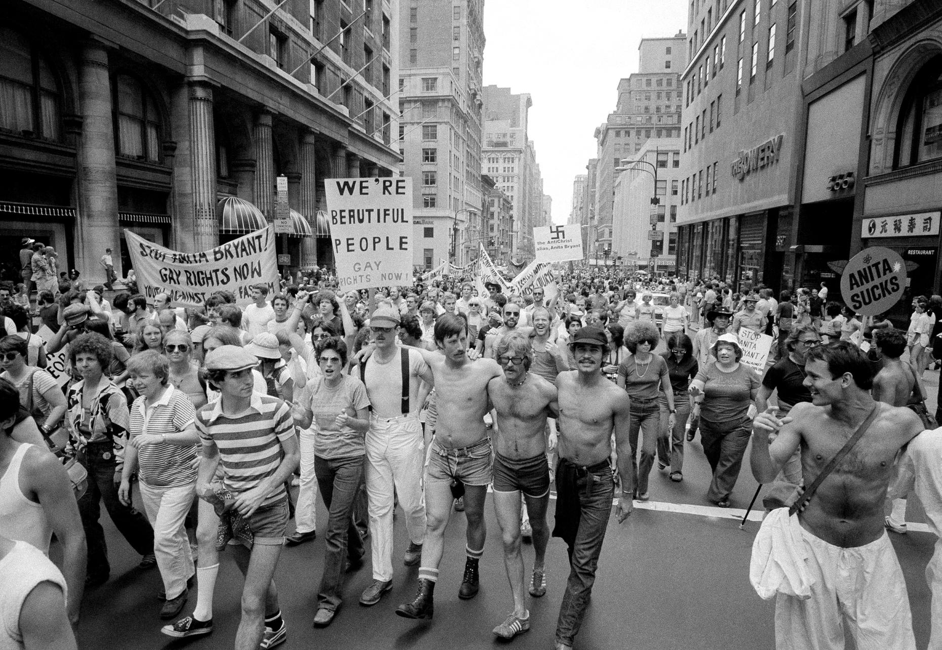 Pride parades in 1977 were sure to make mention of Anita Bryant, who had successfully led a recall of a gay rights ordinance in Florida. This is a parade in New York City on June 27, 1977. (Carlos Rene Perez/ AP Photo)