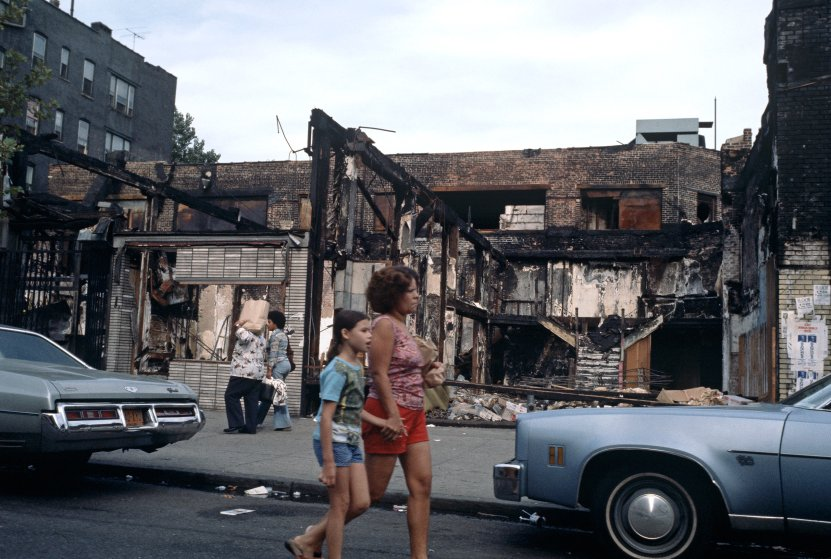 """The Bronx was literally on fire in 1977 (note the burned out buildings in the background.) This type of neglect by city officials, """"fueled by white flight,"""" led to a new form of musical expression: Hip Hop. (Photo by Alain Le Garsmeur—Getty Images.)"""