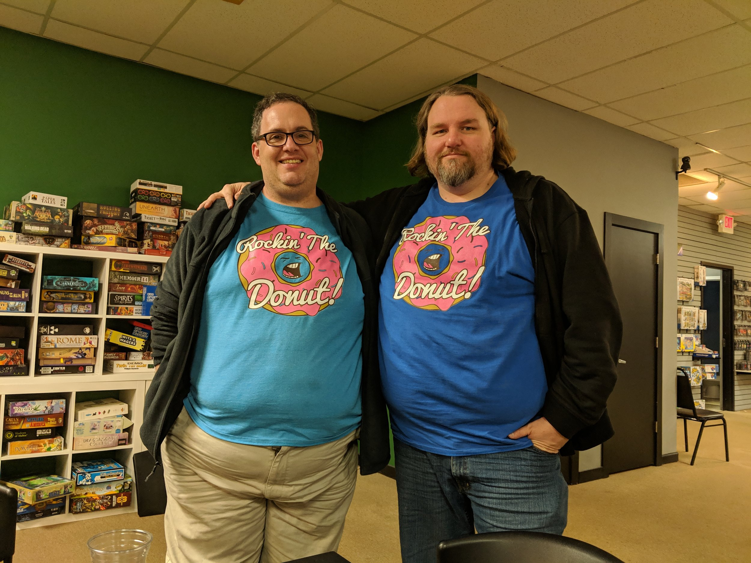 """Patrick and Carl in their """"Flip the Table"""" shirts at Kitchcon 3-D"""