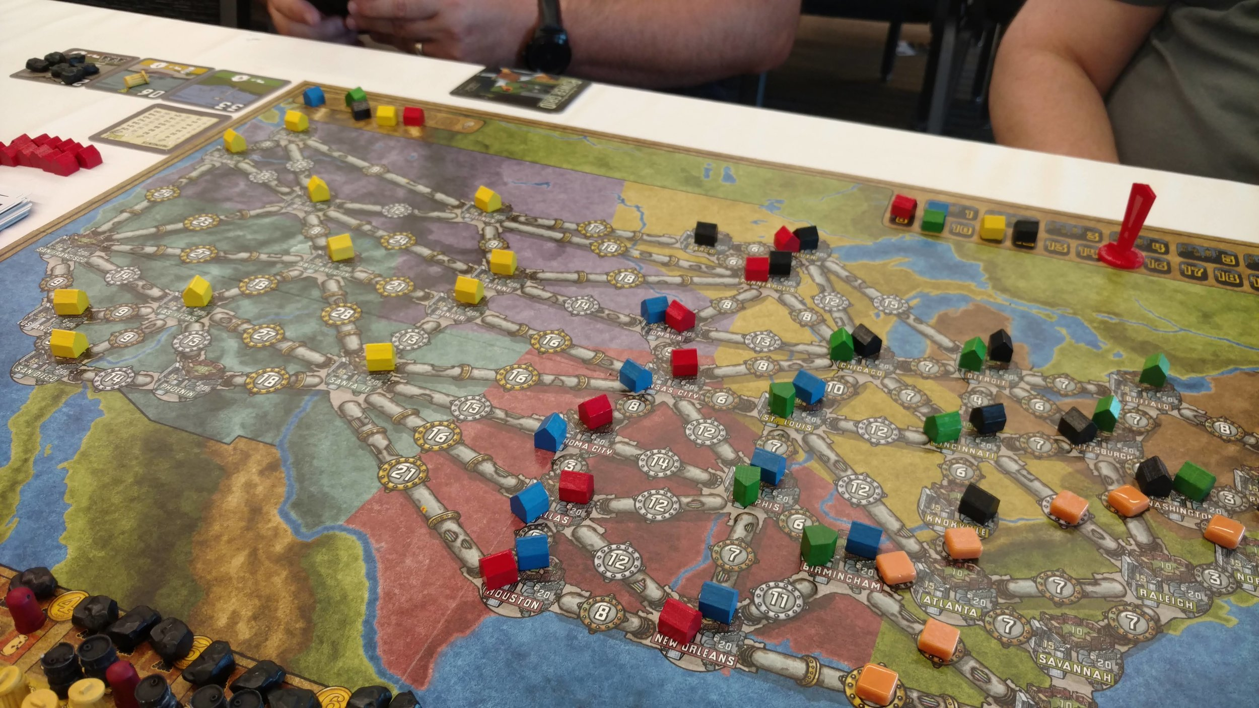 3. Power Grid - This was a favorite of both Eric and I. I think this was one of the few scheduled games I had at Origins. We added in the Detmers who were new. They mistakenly let me have the west coast unchallenged and I took the win but that doesn't really matter, does it?