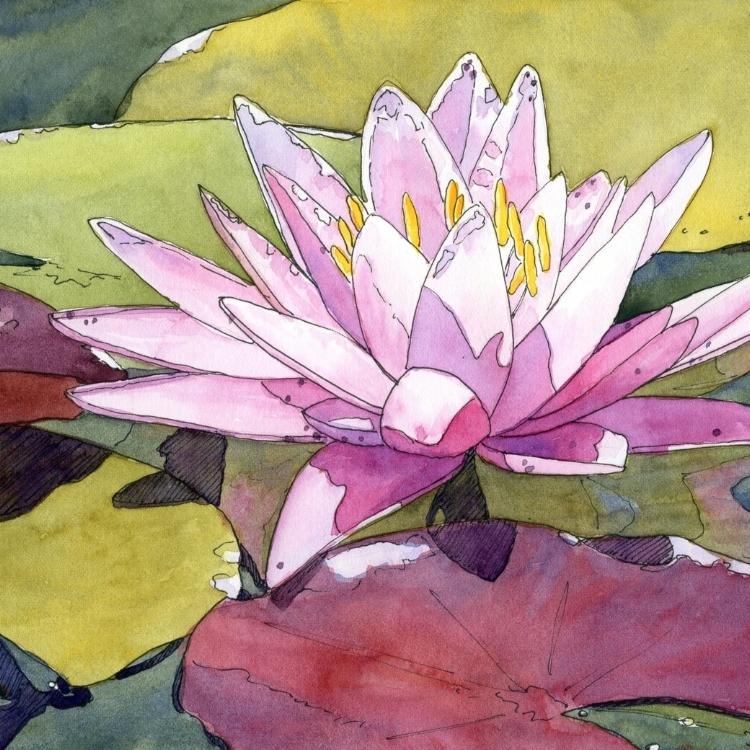 """""""Delightful Lily"""" Watercolor by Lorraine Watry"""