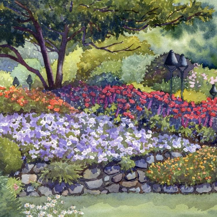 """Butchart Garden Colors"" Watercolor by Lorraine Watry"