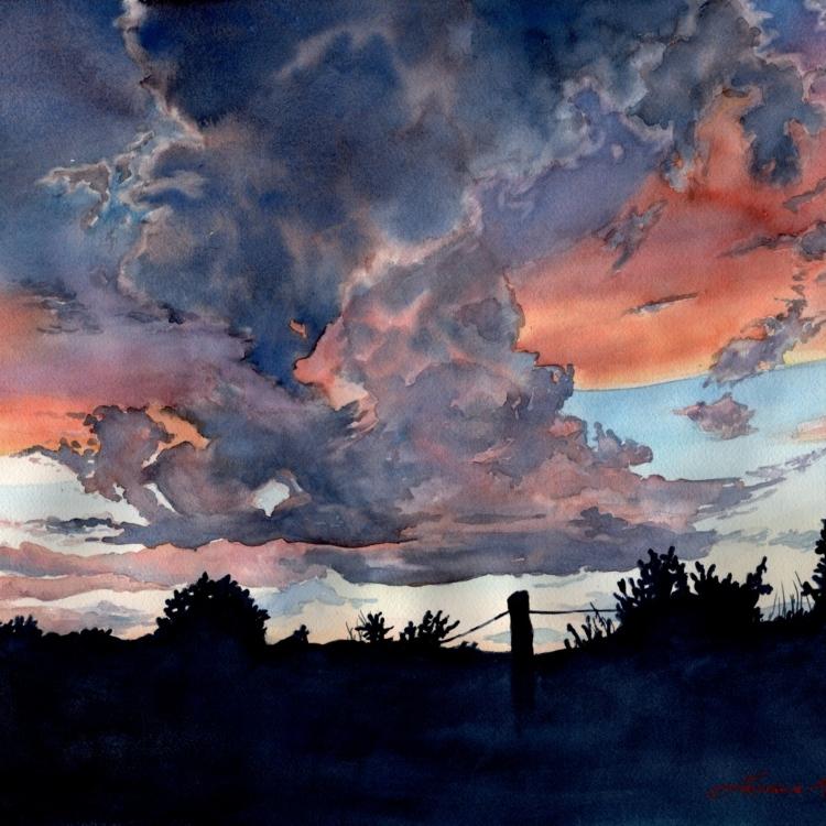"""Colorado Sunset"" Watercolor by Lorraine Watry"