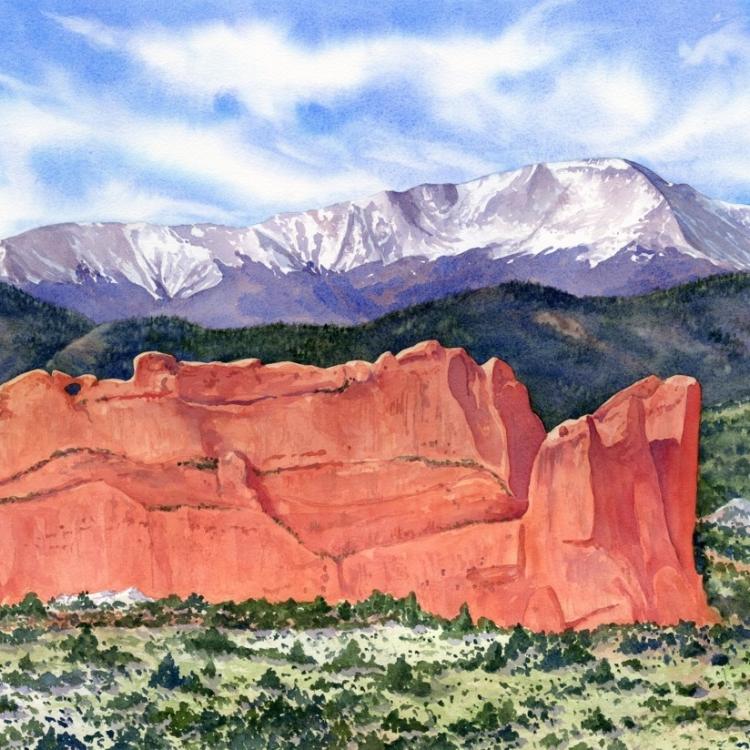 """""""Colorado Springs View"""" Watercolor by Lorraine Watry"""