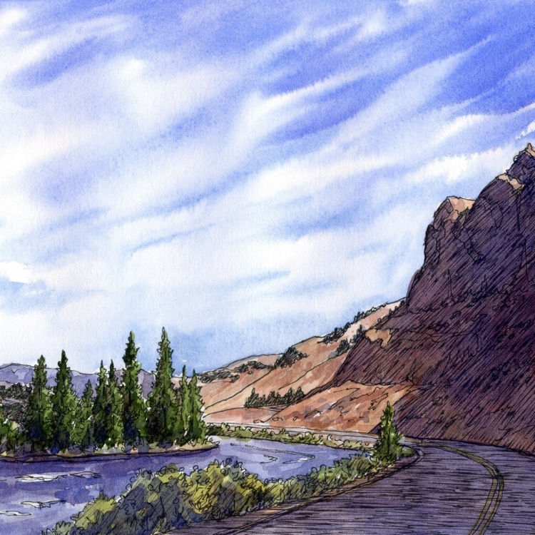 """""""Road Trip"""" Watercolor and Ink by Lorraine Watry"""