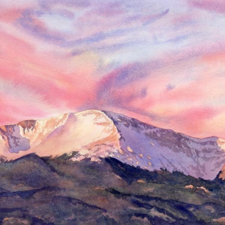 """Spectacular Sunrise"" Watercolor by Lorraine Watry"