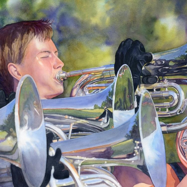 """""""Fanfare"""" watercolor by Lorraine Watry"""