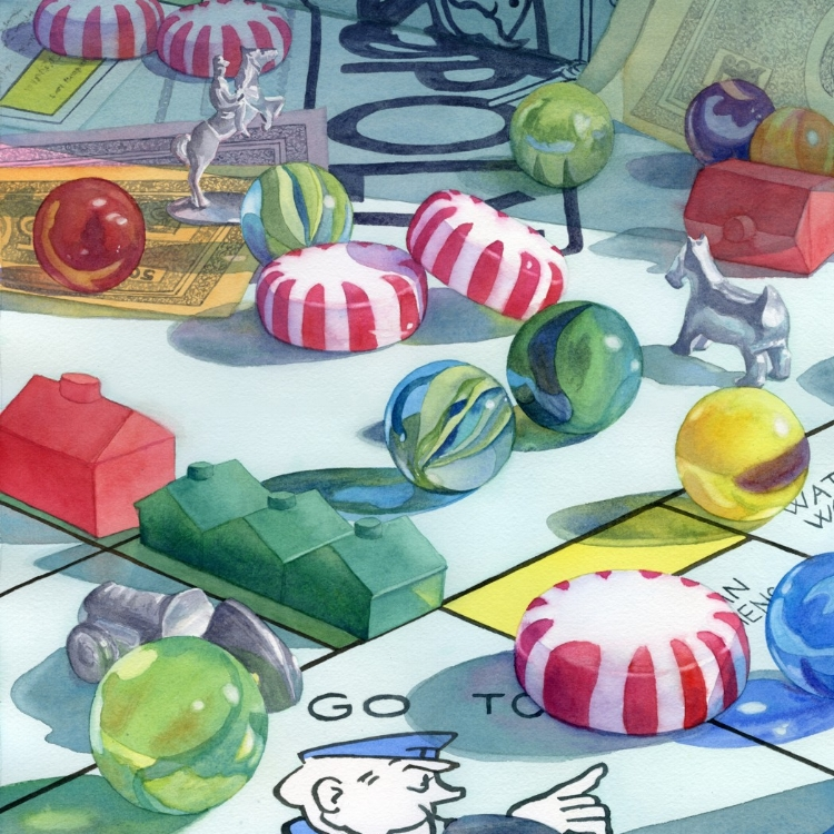 """""""Fun and Games"""" watercolor by Lorraine Watry"""
