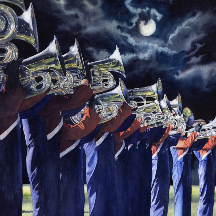 """Moonlight Melodies"" watercolor by Lorraine Watry"