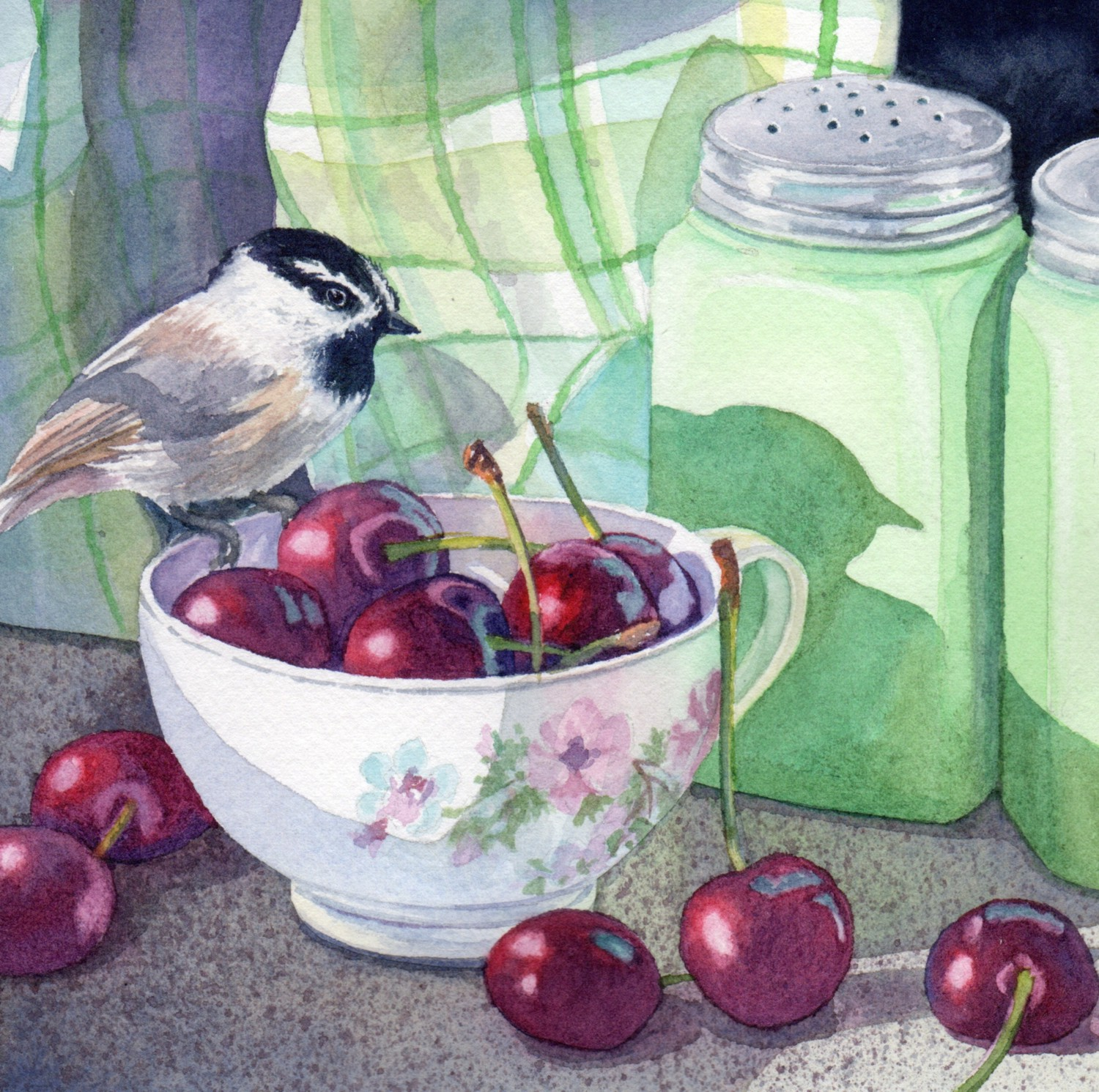 """SOLD """"Day 1 Chickadee China and Cherries"""" watercolor by Lorraine Watry"""