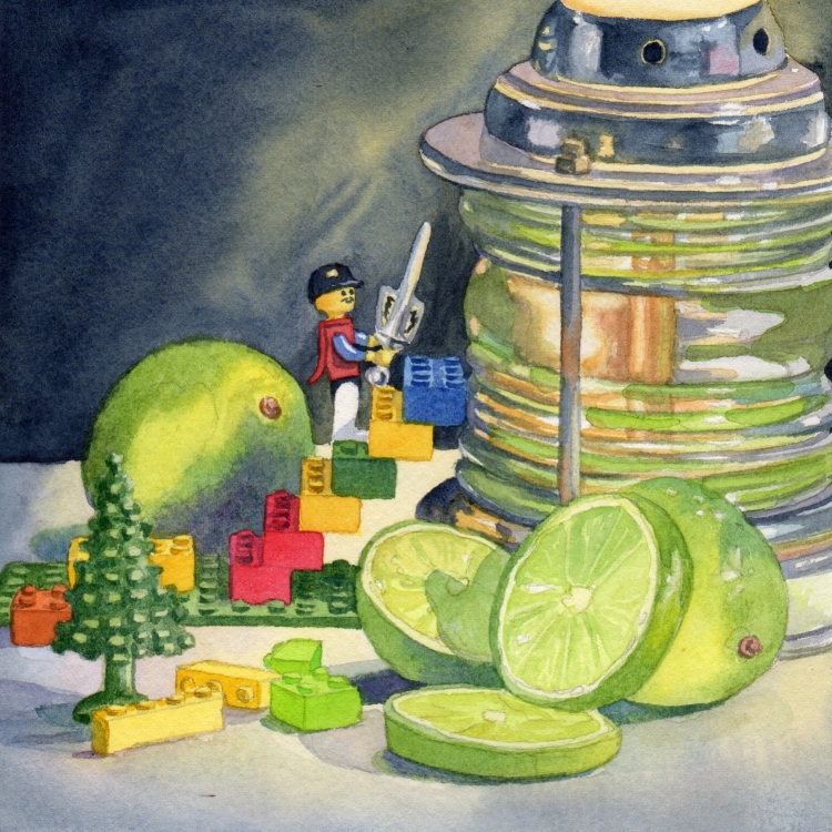 """NFS """"Day 27 Lego Lime and Lamp Light"""" watercolor by Lorraine Watry"""