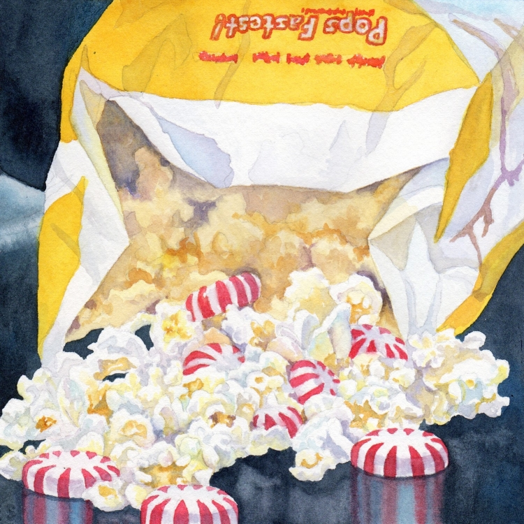 """SOLD """"Day 2 Popcorn and Peppermints"""" watercolor by Lorraine Watry"""