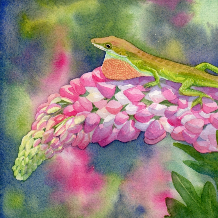 """SOLD """"Day 7 Lizard and Lupine"""" watercolor by Lorraine Watry"""