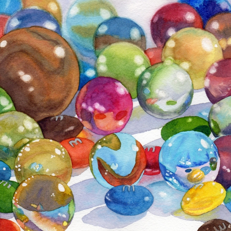 """SOLD """"Day 11 M&M's and Marbles"""" watercolor by Lorraine Watry"""